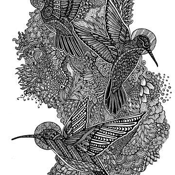 Zentangle Art Trio of Hummingbirds by TemplemanArt