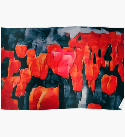 Tulip Field at Night Poster