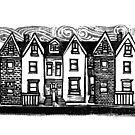 Row Houses Linocut by Eric Fan
