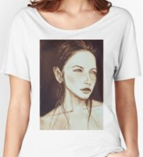 Portrait of bright beautiful girl with freckles. Drawing illustration Women's Relaxed Fit T-Shirt