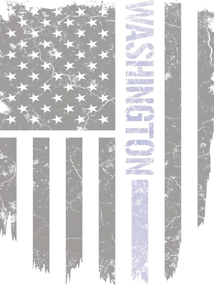 Washington Thin Blue Line American Flag T-shirt - Best Design by teerich