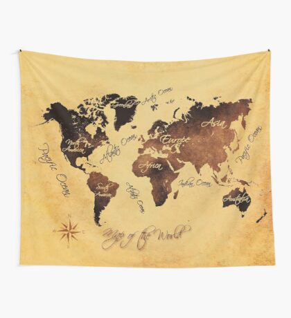 world map 75 Wall Tapestry