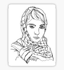 Leila Khaled Single-Line Portrait Sticker