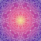 White Lace Mandala in Purple, Pink, and Yellow by Kelly Dietrich