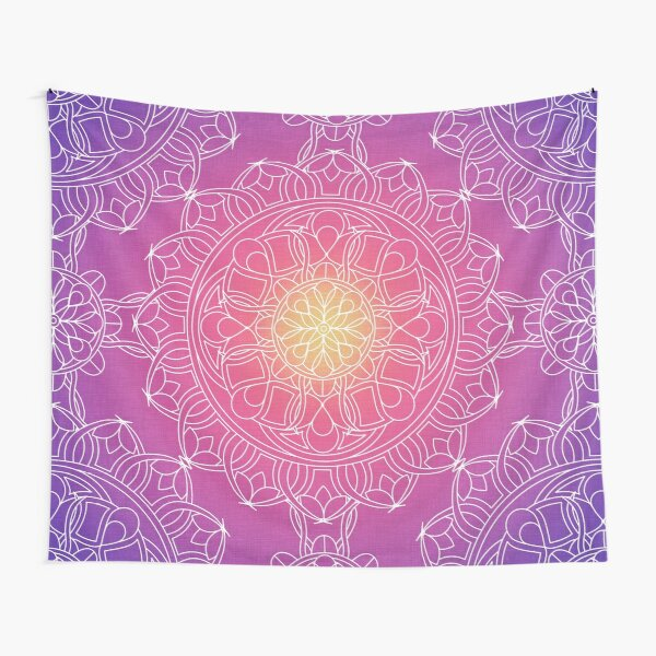 White Lace Mandala in Purple, Pink, and Yellow Tapestry