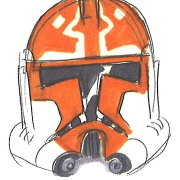 hand-rawn white helmet with miscellaneous orange markings  by mrdanascully
