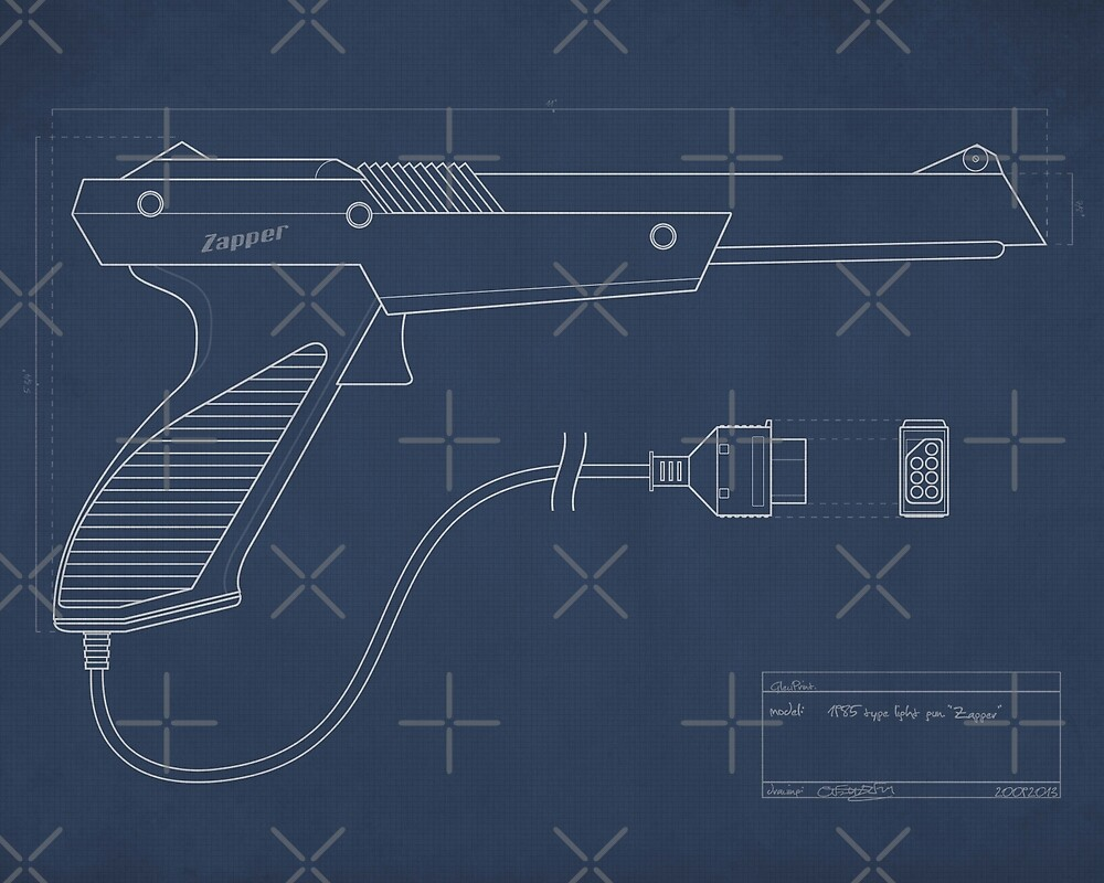 Blueprint of a Zapper light gun by GlewPrint