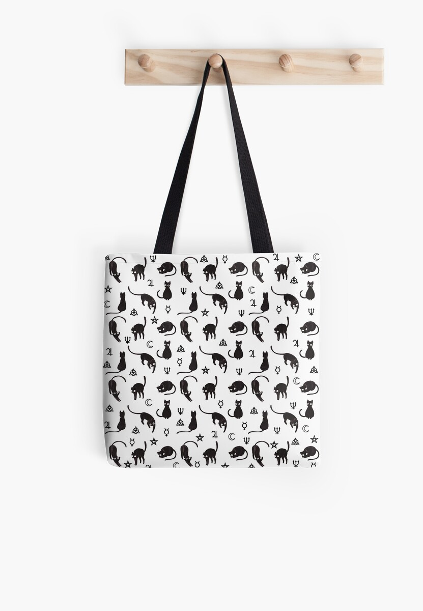 Black cats and witch symbols pattern by ValentinaHramov