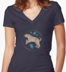 Smilodon fatalis with chrysocolla Women's Fitted V-Neck T-Shirt