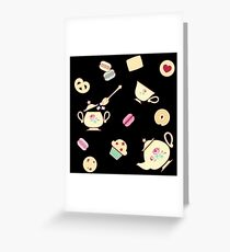 TeaTime Black Greeting Card