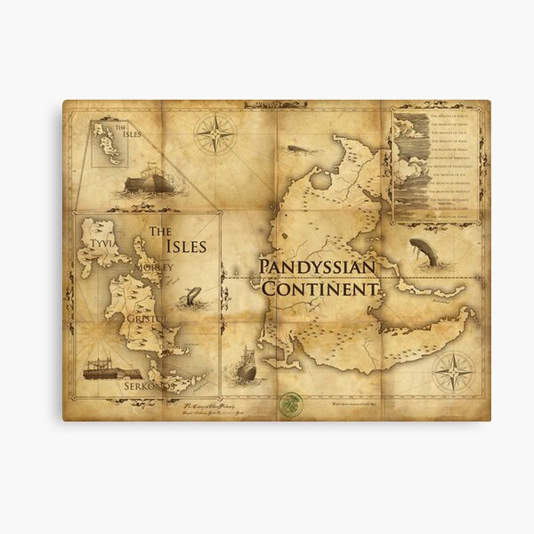 Map of Pandyssia, The Empire of the Isles, and The Months: Dishonored/Dishonored 2 Map Canvas Print