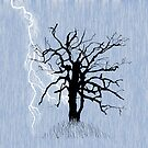 Gnarled Tree and Lightning by melasdesign