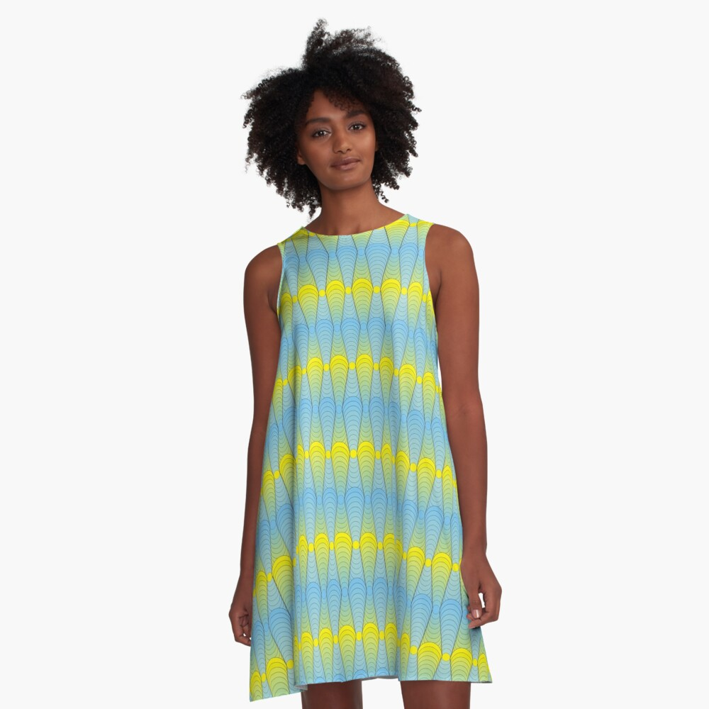Abstract geometric ornament from circular lines A-Line Dress Front