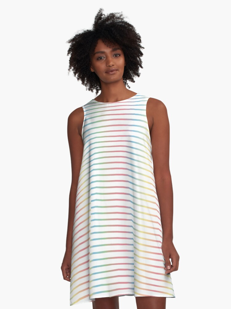 Thin Stripes   Pastel Rainbow Variant A-Line Dress Front