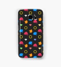 Sonic, Knuckles and Tails with Chaos Emeralds (black) Samsung Galaxy Case/Skin