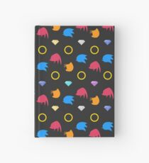 Sonic, Knuckles and Tails with Chaos Emeralds (black) Hardcover Journal