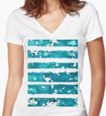 Turquoise ink stripes Women's Fitted V-Neck T-Shirt