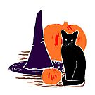 Witch Cat Pumpkin Woodcut Halloween Design by melasdesign