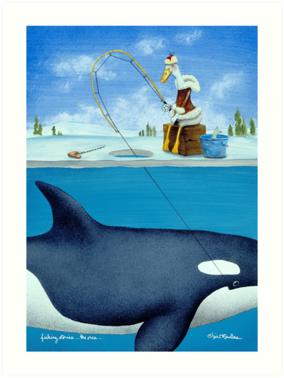 Will Bullas / art print / fishing stories ... the orca ... / humor / animals by Will Bullas