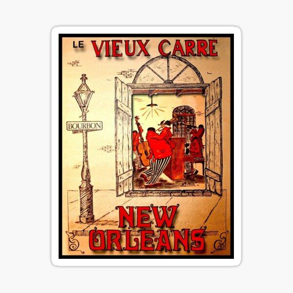 NEW ORLEANS: Vintage Mardi Gras Jazz Advertising Print  Sticker