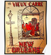 NEW ORLEANS: Vintage Mardi Gras Jazz Advertising Print  Poster
