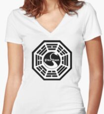 Dharma Initiative - The Swan Station Logo (Lost TV Show) Women's Fitted V-Neck T-Shirt