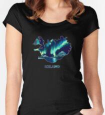 Island - Nordlichter Tailliertes Rundhals-Shirt