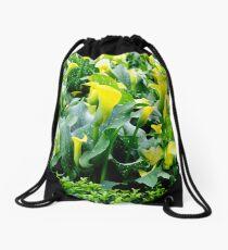Yellow Flowers Drawstring Bag
