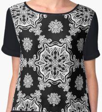 white on black fine line art pattern  Women's Chiffon Top