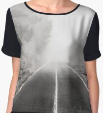 foggy road in forest , trees and highway in fog Chiffon Top