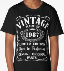30th Birthday Gift Idea T-Shirt Vintage Made In 1987 Long T-Shirt