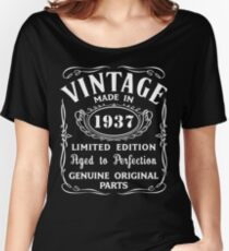 80th Birthday Gift Idea T-Shirt Vintage Made In 1937 Women's Relaxed Fit T-Shirt