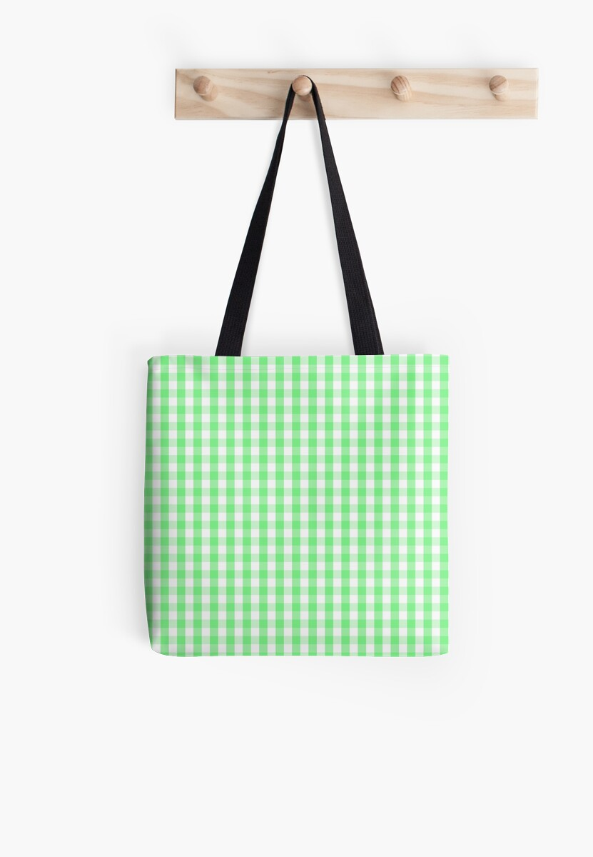 Apple Green Gingham Check Plaid by podartist