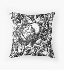 The Giant Head of Philosopher Michel Foucault amidst a scene of Whipping and Flagellation Throw Pillow
