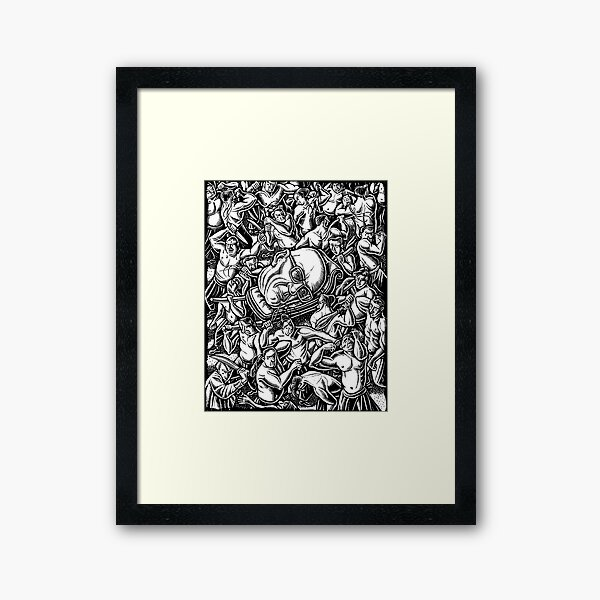The Giant Head of Philosopher Michel Foucault amidst a scene of Whipping and Flagellation Framed Art Print