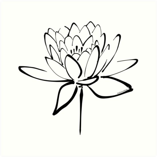 Lotus Flower Calligraphy Black Art Prints By Makanahele Redbubble