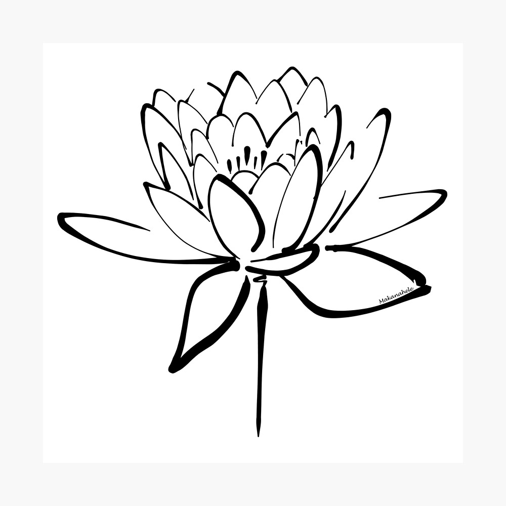 Lotus Flower Calligraphy Black Photographic Print By Makanahele