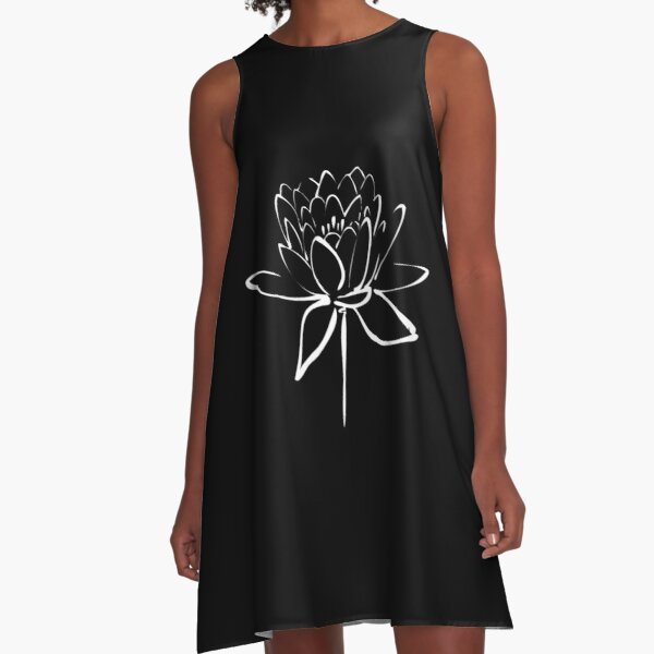 Lotus Flower Calligraphy (White) A-Line Dress