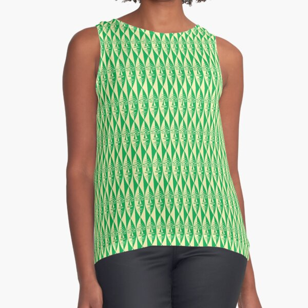 Tiki Mask Sleeveless Top