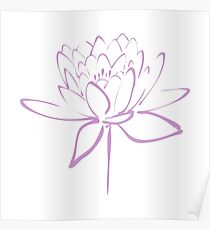 Lotus Flower Calligraphy (Lavender) Poster