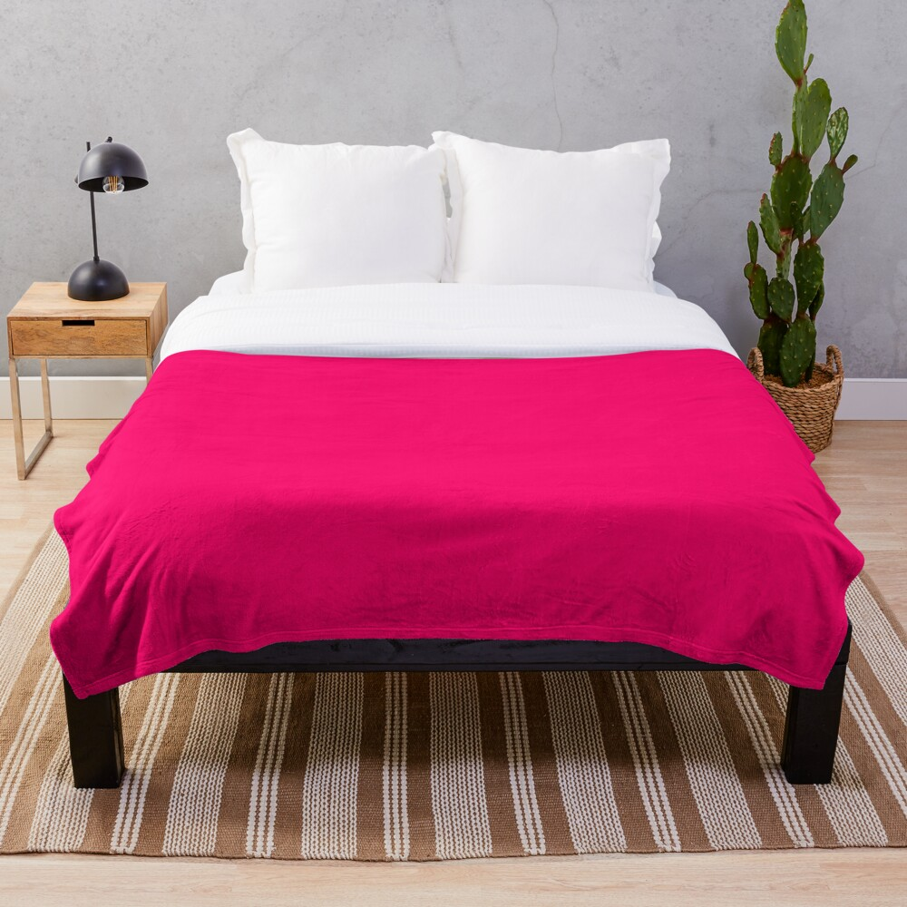 Super Bright Fluorescent Pink Neon Throw Blanket