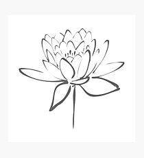 Lotus Flower Calligraphy (Smoke Grey) Photographic Print