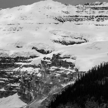 Victoria Glacier, Black and White by JennWanderer