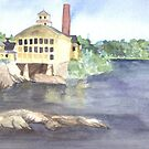 Great Bowdoin Mill, Topsham, Maine - Watercolor by skidgelstudios