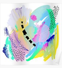 Abstract Painting in Pastel Colors Poster