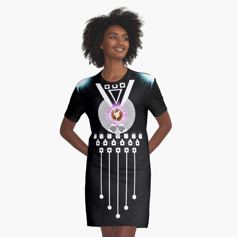 S-Core V Graphic T-Shirt Dress Front