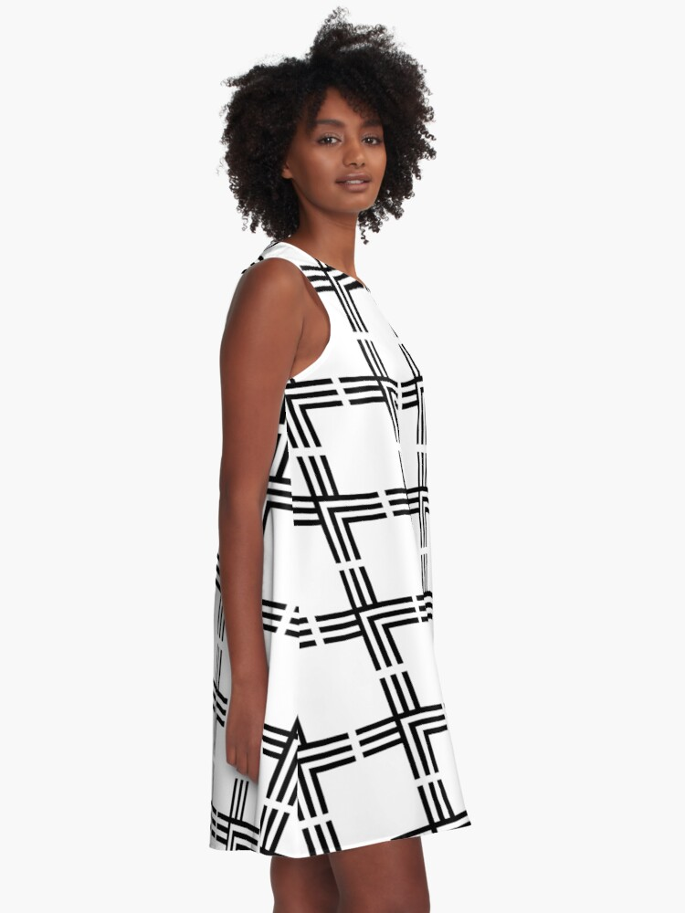 Alternate view of White and Black Grid Pattern A-Line Dress
