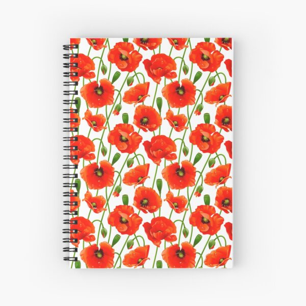 Beautiful Red Poppy Flowers Spiral Notebook