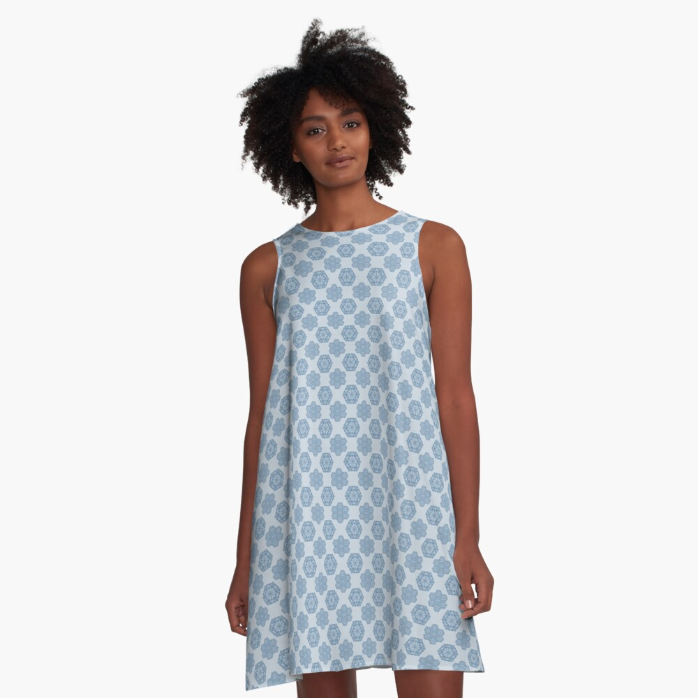 Seamless repeating pattern in blue A-Line Dress Front