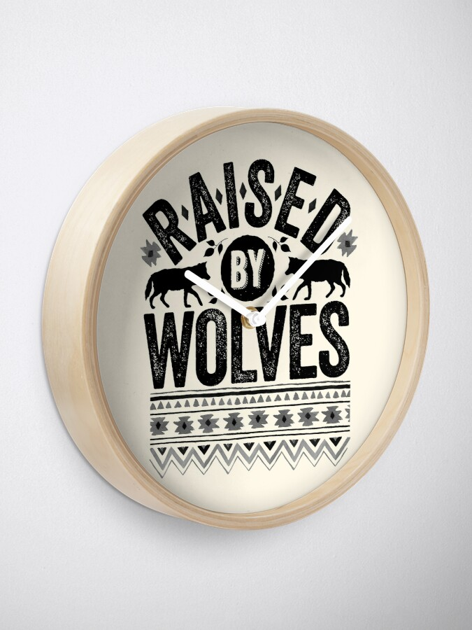 Alternate view of Raised By Wolves {Black + White} Clock